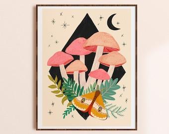 Mushroom Art Print, Colorful Boho Artwork, Mycology Gift, Mushroom Wall Decor, Whimsical Wall Art, Nature Home Decor, Living Room Print