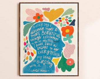 Claude Monet Quote Print, Inspirational Wall Art for Office, Creativity Quote Art, Colorful Artwork, Whimsical Home Decor, Gift for Artist