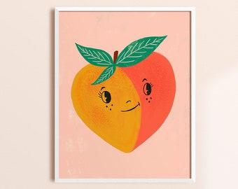 Whimsical Wall Art, Colorful Nursery Decor, Scandinavian Wall Art, Kids Art Prints, Playroom Decor, Peach Art, Bright Wall Art, Kids Artwork