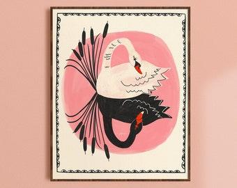 Swan Decor, Girls Room Print, Nursery Wall Art, Living Room Prints, Whimsical Wall Art, Black Swan Art, White Swan Print, Bird Art Print