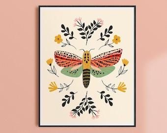 Moth Print, Folk Art Print, Kids Room Wall Decor, Insect Wall Art, Moth Artwork, Boho Art, Nature Gift, Hippie Decor, Entomology Art