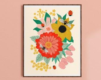 Rainbow Floral Folk Art Print Happy A4 Giclee Print