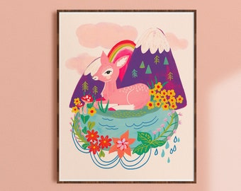 Whimsical Art Prints, Colorful Kids Wall Art, Deer Print Nursery, Bright Art Prints, Eclectic Kids Room, Rainbow Decor, Mountain Landscape
