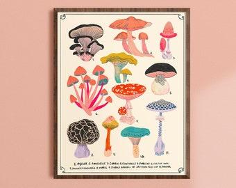 Mushroom Decor, Woodland Wall Art, Whimsical Art Prints, Nature Artwork, Mushrooms Chart, Colorful Living Room Prints, Kitchen Wall Art