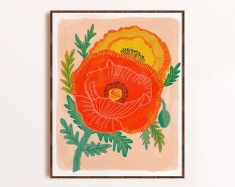 Poppy Flower Print, Botanical Illustration, Bold Floral Art Print, Colorful Kid Decor, Flower Lover Gift, Gift for Gardener, Living Room Art