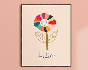 Whimsical Wall Art, Colorful Nursery Art, Floral Wall Decor, Kids Room Print, Rainbow Nursery Art, Whimsical Flower Art Print, Baby Room Art
