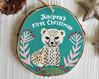 Kids Christmas Ornament, Cheetah Ornament, Personalized Baby Ornament, Unique Kids Gift, Hand Painted Ornament, Wooden Animal Ornament