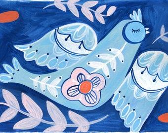 Bird Wall Art, Folk Bird Print, Blue Bird Art, Bird Lover Gift, Whimsical Nature Print, Bird Art Print, Gift for her, Bird Room Decor