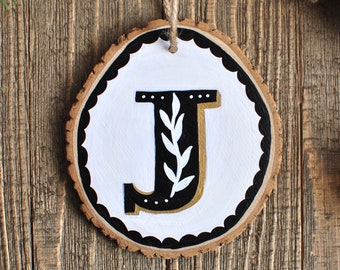 Personalized Wedding Gift, Initial Ornament, Bridal Shower Gifts, Unique Wedding Gift for Couple, Letter Ornament, Rustic Christmas Ornament