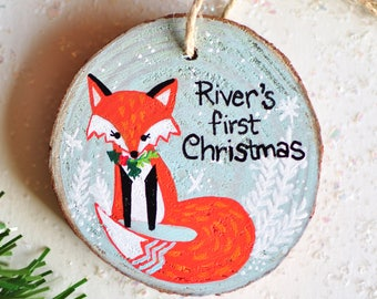 First Christmas Ornament baby boy, New Baby Gift with Name, Fox Ornament, kid Christmas tree ornament, Custom Painted Ornament Baby Keepsake