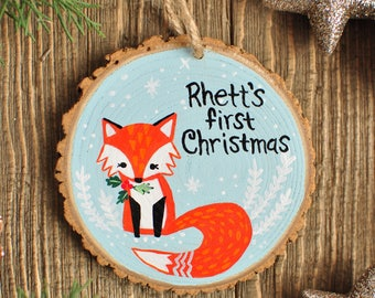 Fox Ornament, Baby's First Christmas, baby shower gift boy, Personalized Ornaments for Kid, Custom Name Ornament, Woodland Animal Ornament