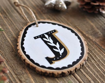 Initial Ornament, Personalized Gift for Couple, Bridal Shower Gift for Bride, Monogram Ornament, Letter Ornament, Rustic Christmas Ornament
