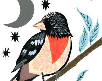 Oiseau Art Print, illustration de la Nature, oiseau Wall Art, décorations murales cuisine, Art de mur de salle de séjour, décor oiseau, oiseau peinture, oiseau sur une branche
