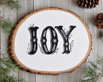 Rustic Christmas Decoration, Modern Farmhouse Christmas, Joy Sign Wood, Holiday Wall Art, Joy Wall Art, Christmas Decor, Gift for Mother