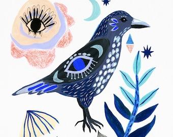 Bird Illustration, Crow Art, Gifts for Bird Lovers, Living Room Decor, Animal Art Prints, Bedroom Wall Art, Nature Print, Nursery Decor,