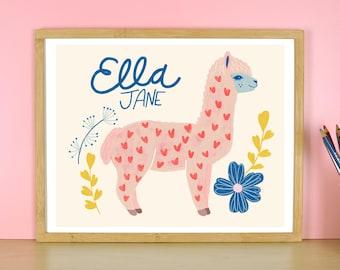 Personalized Name Print, Llama Art, Kids Room Wall Art, Custom Name Art, Baby Name Prints, Baby Girl Nursery Decor, Animal Art, Alpaca Print