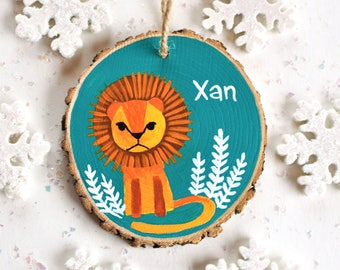 Kids Christmas Ornament, Lion Ornament, Safari Ornament, Personalized Gift, Hand Painted Ornament, Boy Ornaments, Baby Gift, Wooden Ornament