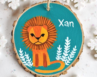 Lion Ornament, Personalized Ornaments for Kids, Little Boy Christmas Ornament, Child Name Ornament, Jungle Animal Ornament, Baby Boy Gift