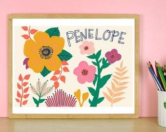 Personalized Name Art, Girls Room Decor, Custom Kids Gift, Flower Nursery Print, Floral Nursery Art Print, New Baby Gift, Kids Room Wall Art