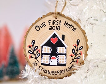 Our First Home Ornament, Personalized Christmas Ornament, New House Ornament, Custom Wood Ornament, Hygge Gift, Holiday Housewarming Gift