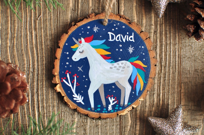 Little Boy Ornament Fairytale Gift Girl Ornaments Unicorn Ornament Custom Ornaments for Kids Baby Christmas Gift Personalized Gift Kid