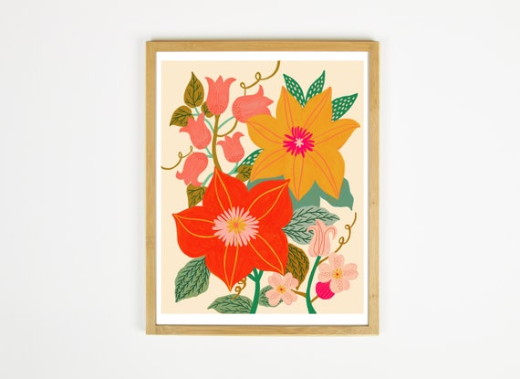 Colorful Floral Wall Art Autumn Wall Art Fall Art Prints Etsy