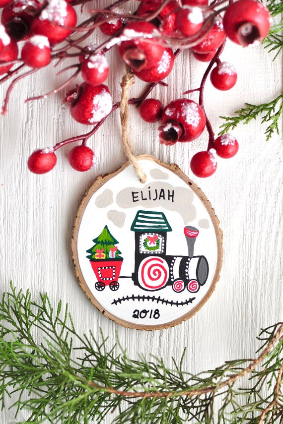Custom Christmas Ornaments.Personalized Christmas Ornament Baby Ornament Boy Train Ornament Ornaments For Kids Custom Christmas Gift New Baby Ornament Baby Gift