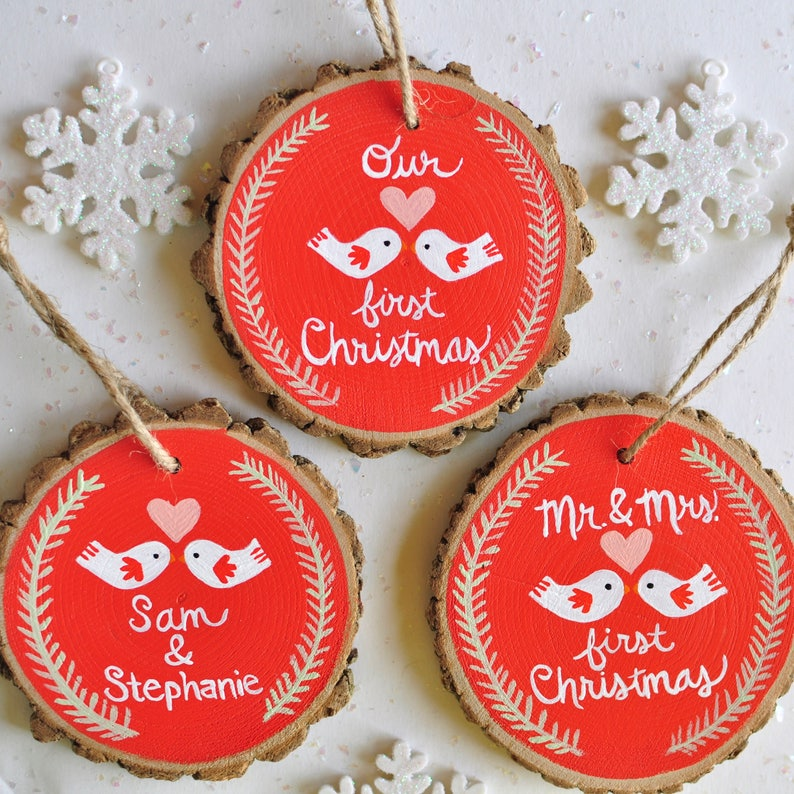 First Christmas Married Our First Christmas Ornament Personalized Couple Ornament Mr and Mrs Ornament Rustic Wedding Gift Newlywed Gift