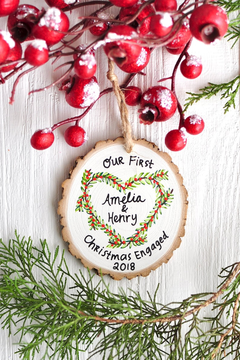 Engagement Ornament Wedding Ornament Personalized Gift for image 0