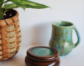 Small Round Wood Box with Teal Agate Geode Top - keepsake box, jewelry box, boho style, beach style, home decor