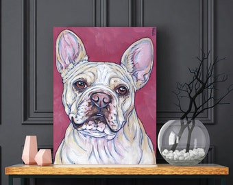 """Custom Pet Portrait Painting in Acrylic on Canvas Gallery Wrapped 6"""" x 8"""" Canvas of One Dog, Cat, Rabbit, Animal Ready to Hang Edges Painted"""