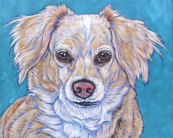 """Custom Pet Portrait Painting on Canvas 12"""" x 16"""" in Acrylic Paint of 1 Dog, Cat, Bird, Horse Other Animal Modern Wall Art Gift Pet Memorial."""