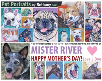 Custom Pet Portrait Painting Gift Certificate for Painting on Canvas of Dog, Cat, Bird, Horse, Rabbit Etc, Shipping Included in Price.
