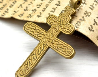 African Brass Pendant, Small cross Pendant, African Handcraft Jewelry