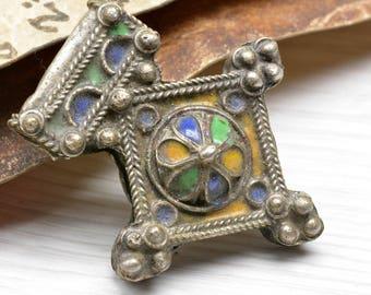 Silver Moroccan pendant,Enamel, Amulet ,Southern cross , Berber cross, Bedouin, Moroccan Jewelry, nort africa