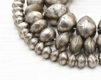 Made in Morocco * BRB-BIC-SLV-101 48 Berber Silver Bicone Beads 12x14mm African Silver Beads