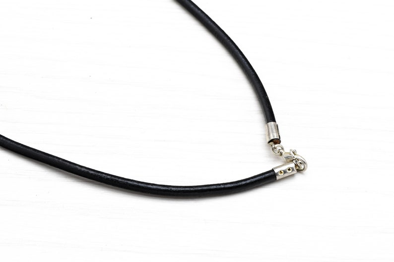 black leather cord Vintage Orthodox round silver Cross necklace pendant