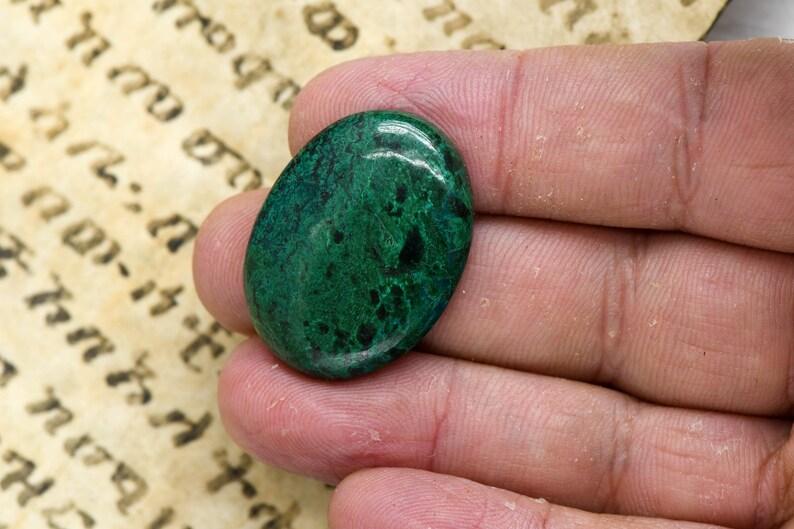reiki gift round cabochon genuine eilat stone healing crystal green gemstone