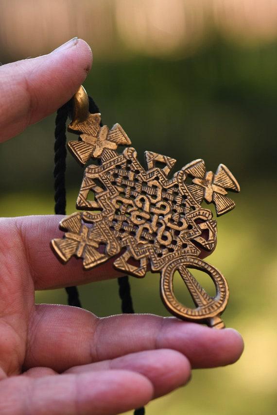 Copper Coptic Cross Pendant 38x20mm Ethiopia African Large Hole Handmade