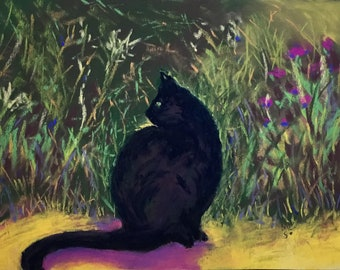 Black Cat In My Garden, print from original pastel painting by MaryLee Sunseri