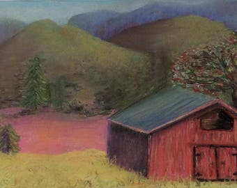 """Signed Print of """"Red Barn"""" by MaryLee Sunseri"""