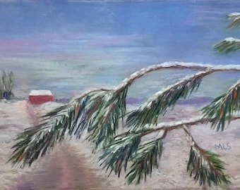 """Signed Print of """"A Light Dusting"""" by MaryLee Sunseri, 5"""" x 7"""" pastel"""