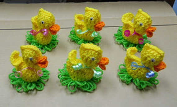 Crochet Easter Duck On Egg Pattern Easter Duck On Grass With Etsy
