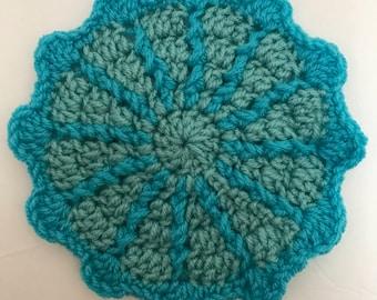 Starburst Coaster Crochet Pattern- Downloadable PDF Crochet Pattern- Textured Crochet Coaster Pattern- Easy Crochet Coaster Pattern