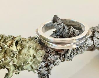 Stacking ring Silver ring Minimal ring Contemporary ring Asymmetrical ring Modern ring Square ring Fashion ring Stylish ring