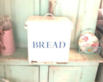 Vintage enamel bread box shabby decor prairie  cottage kitchen