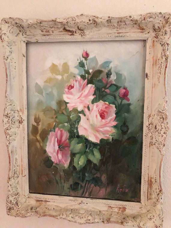 Vintage Rose Painting In Shabby Chic Wood Frame Beautiful Etsy