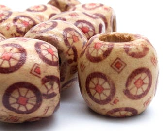 Patterned Wood Beads - 16 wide x 17mm long