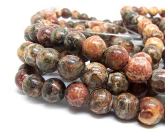 Gemstone Natural Leopardskin Beads - 8mm in diameter, hole: 1.5mm