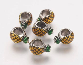 Pineapple Enamel European Beads - 6mm wide, 12mm long, 8mm thick, hole: 5mm